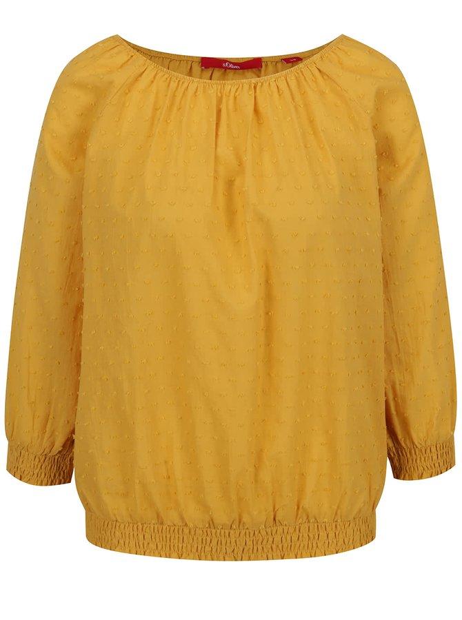 Žlutá dámská halenka s 3/4 rukávy s.Oliver