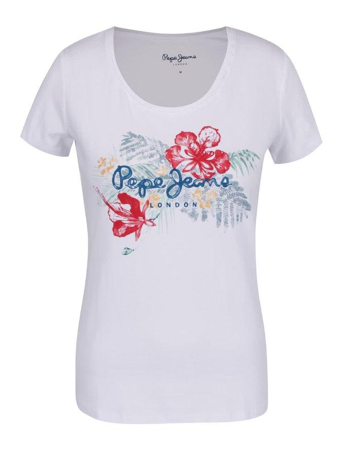 Tricou alb Pepe Jeans Amber cu imprimeu floral