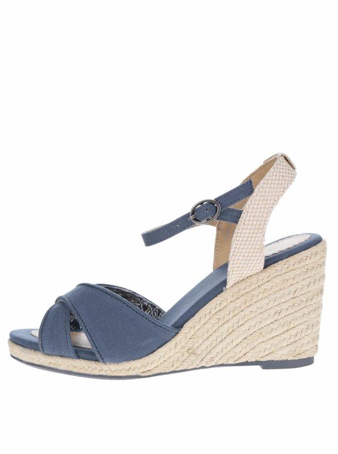 Tmavě modré dámské sandály na klínku Pepe Jeans Shark Basic