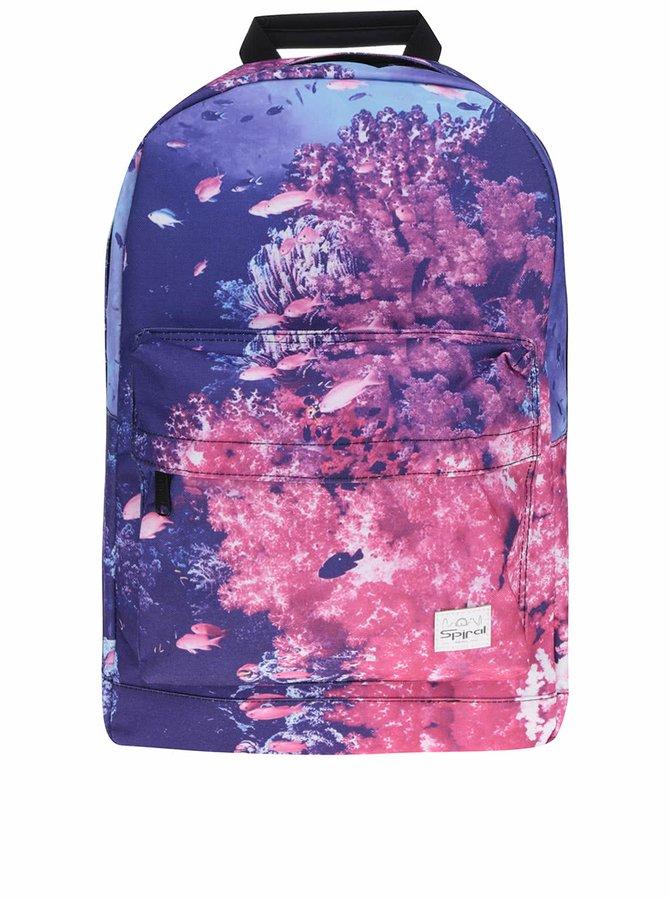 Fialovo-růžový dámský batoh s motivem ryb Spiral 18 l