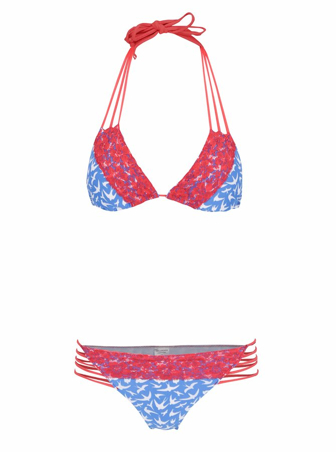 Červeno-modré vzorované dvoudílné plavky s karjkou Relleciga