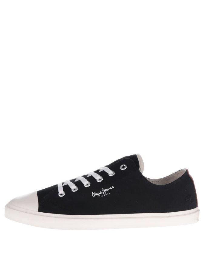 Černé pánské tenisky s gumovou špičkou Pepe Jeans Tokio Court