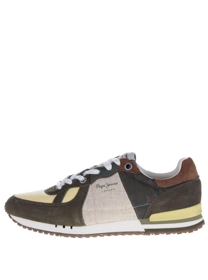 Pantofi sport kaki&galben Pepe Jeans Tinker Jack