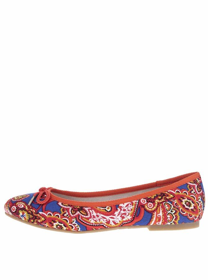 Modro-červené vzorované baleríny Tamaris