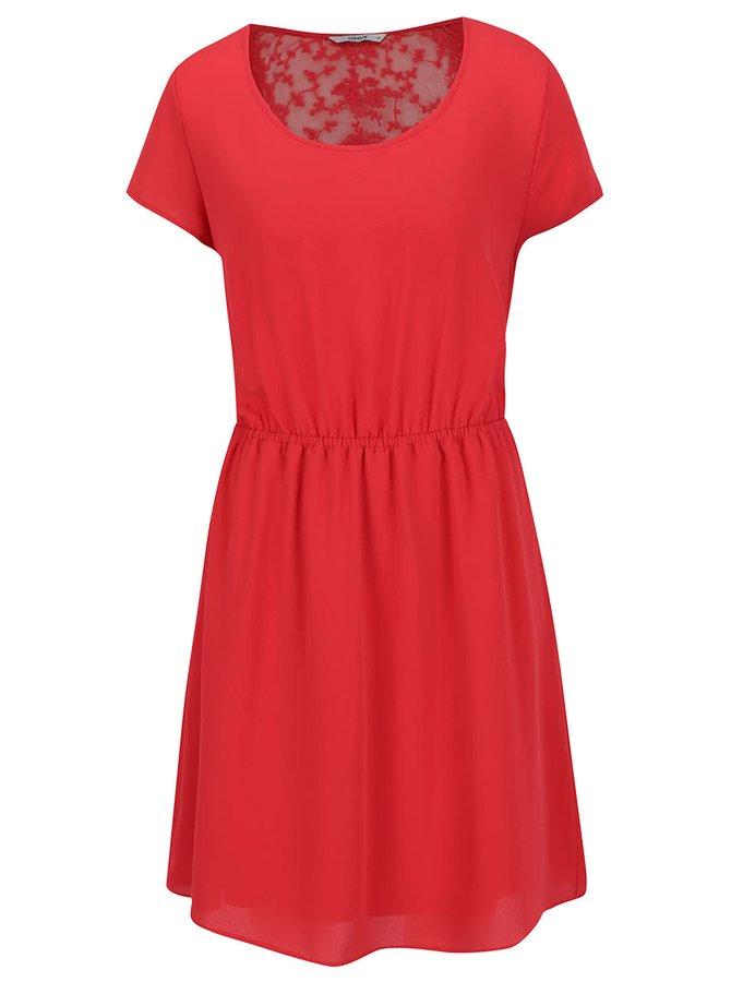 Rochie roșie ONLY Glam cu inserție din dantelă