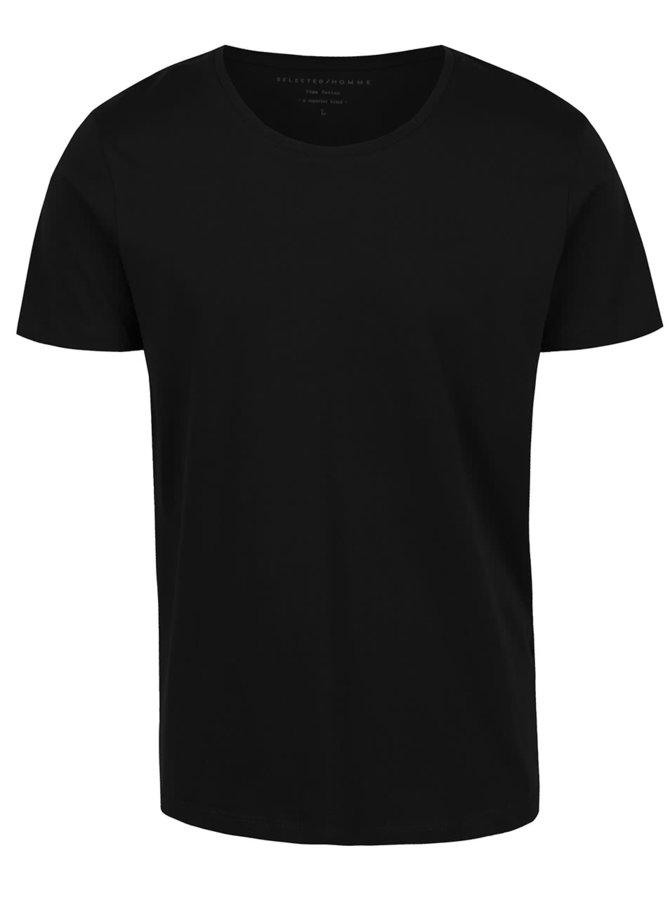 Černé triko s krátkým rukávem Selected Homme Pima