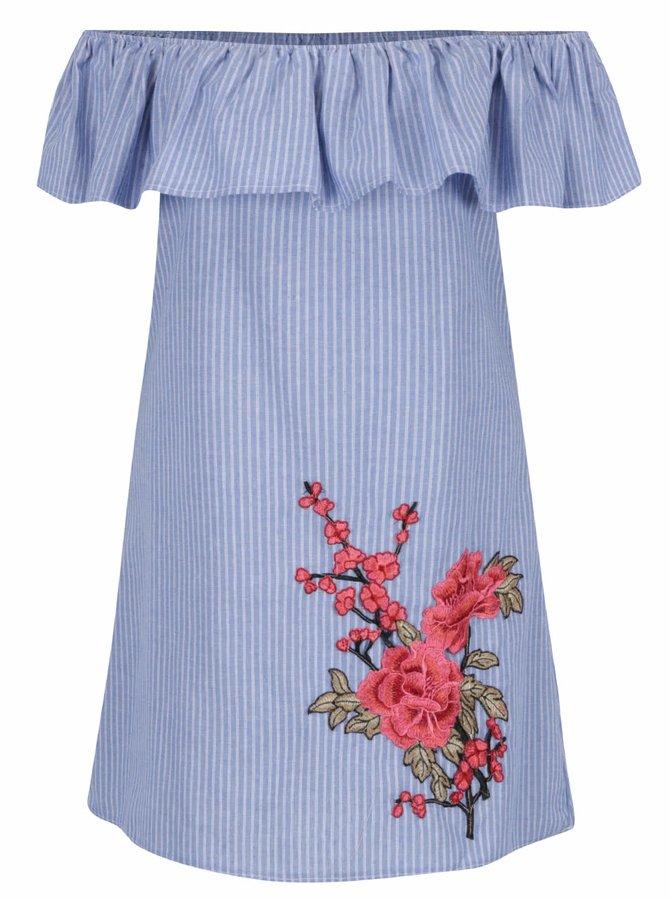 Bluză albastră AX Paris fără umeri cu model și detaliu brodat