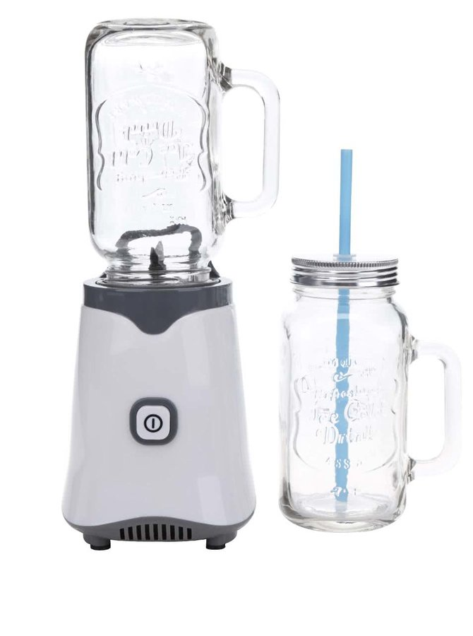 Bílý mixér na smoothie se dvěma sklenicemi Loooqs