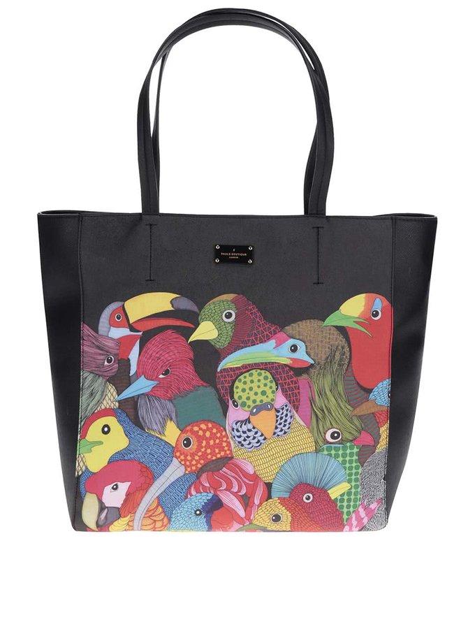 Geantă shopper neagră Paul's Boutique Keira cu imprimeu