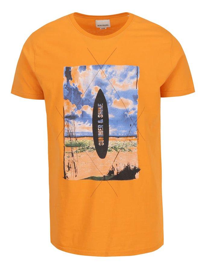 Oranžové triko s barevným potiskem Shine Original