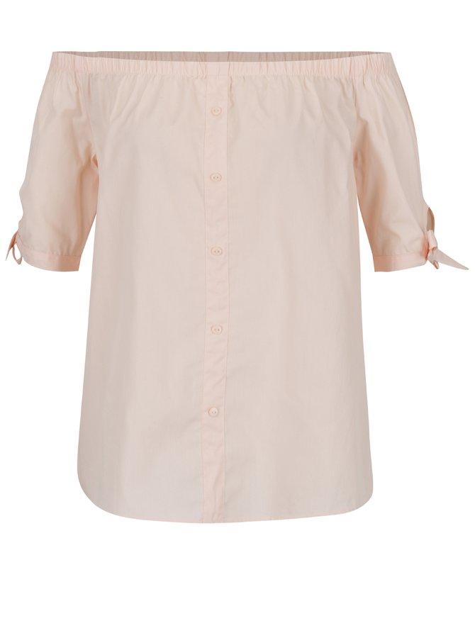 Bluză roz pal Noisy May Andrea cu decolteu pe umeri