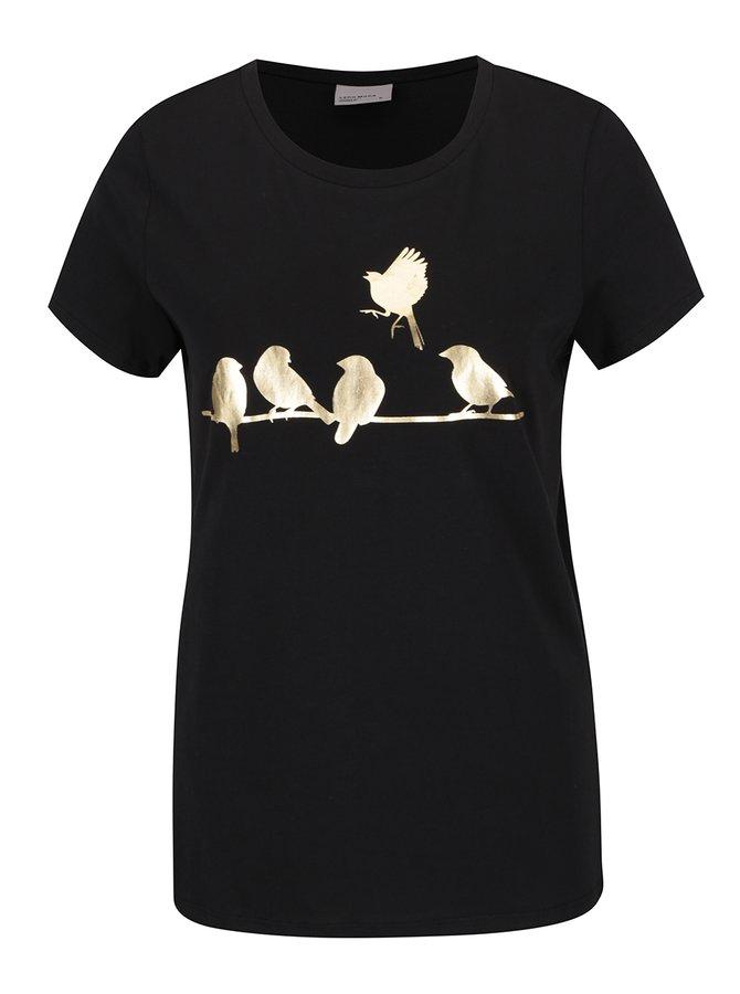 Tricou negru VERO MODA Molly cu imprimeu