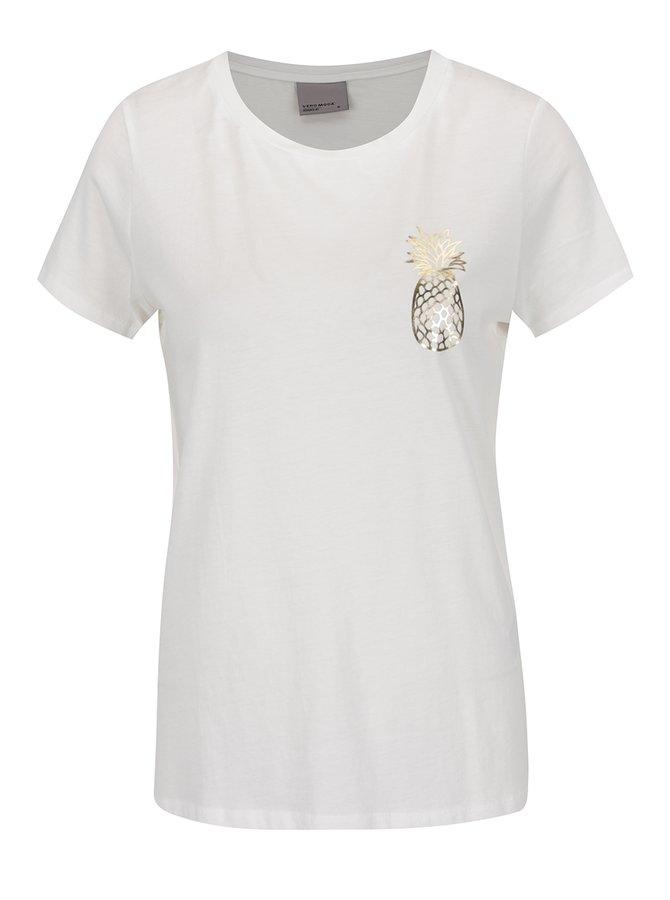 Bílé tričko s potiskem ve zlaté barvě VERO MODA Molly