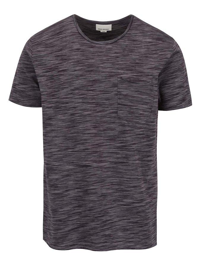 Tmavě šedé žíhané triko s kapsou Shine Original
