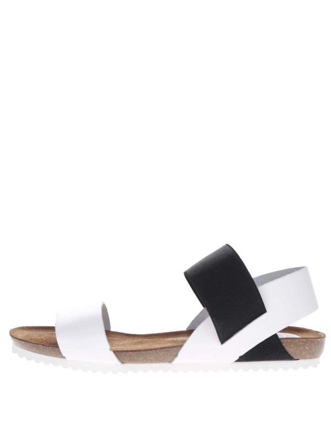 Bílé kožené sandály se širokým černým páskem OJJU