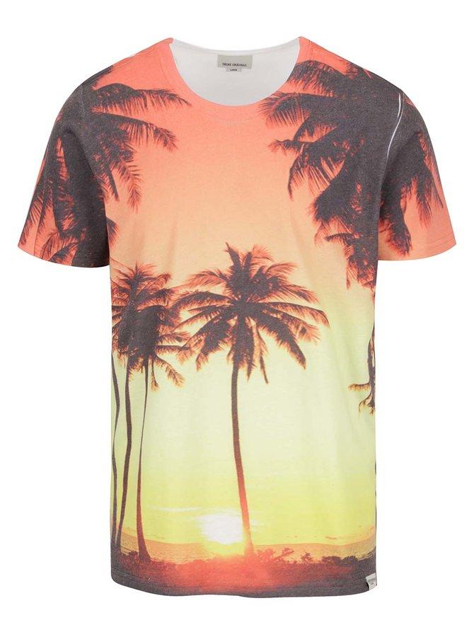 Tricou alb&portocaliu Shine Original cu imprimeu