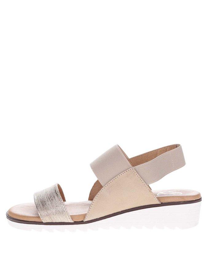 Béžové kožené sandály s třpytivým páskem OJJU