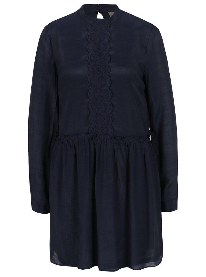 Tmavě modré šaty s krajkou VERO MODA Lacy