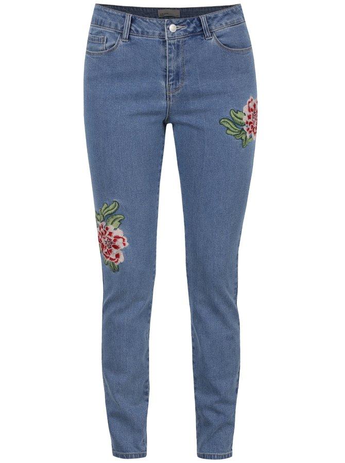 Světle modré slim džíny nášivkami VERO MODA Seven