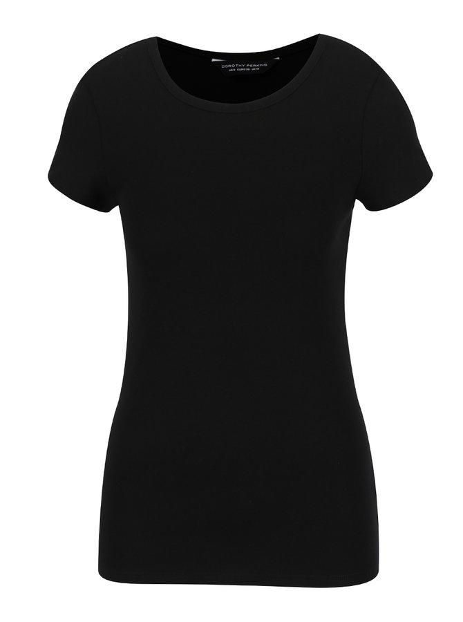 Černé basic tričko s krátkým rukávem Dorothy Perkins