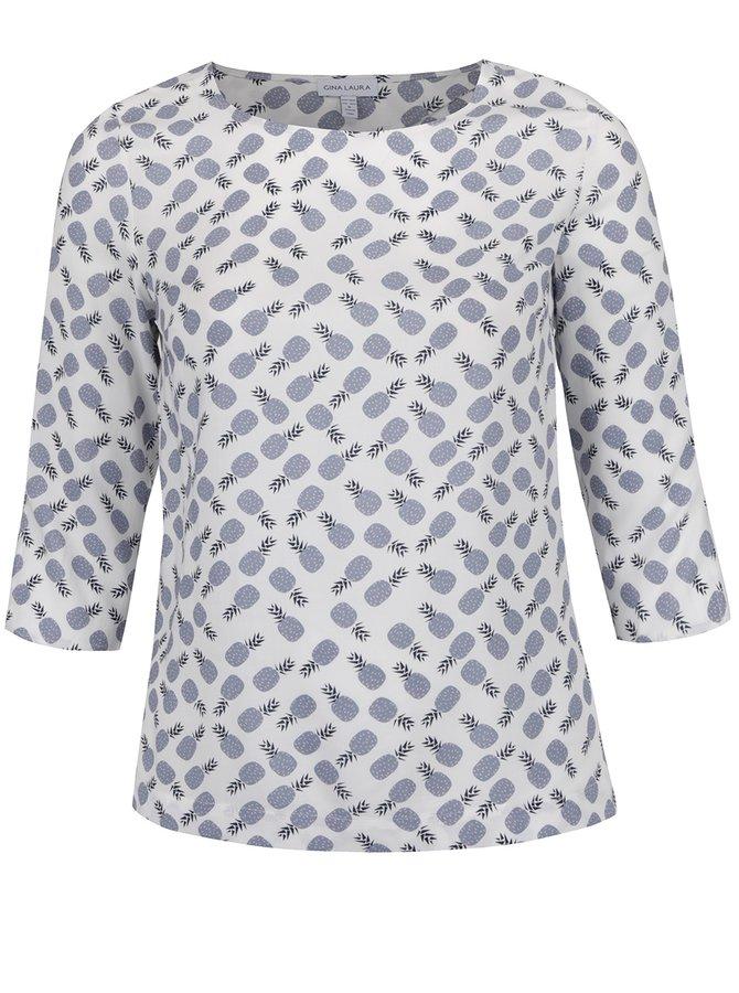 Bluză crem Gina Laura cu print cu ananași