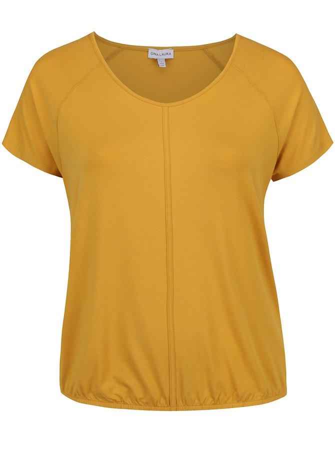 Tricou galben muștar Gina Laura cu tiv elastic