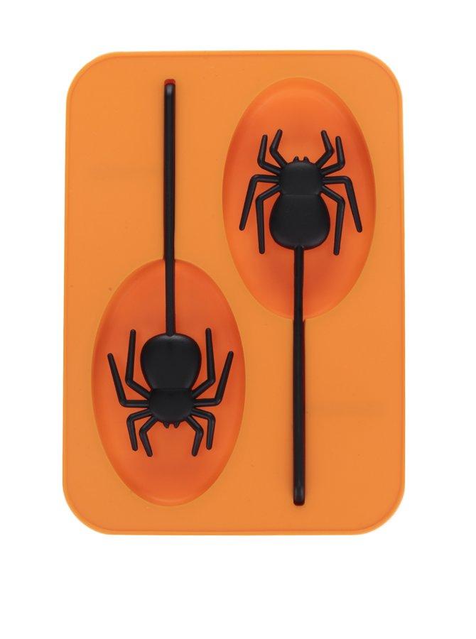 Oranžová silikonová forma na led s umělým pavoukem Kikkerland