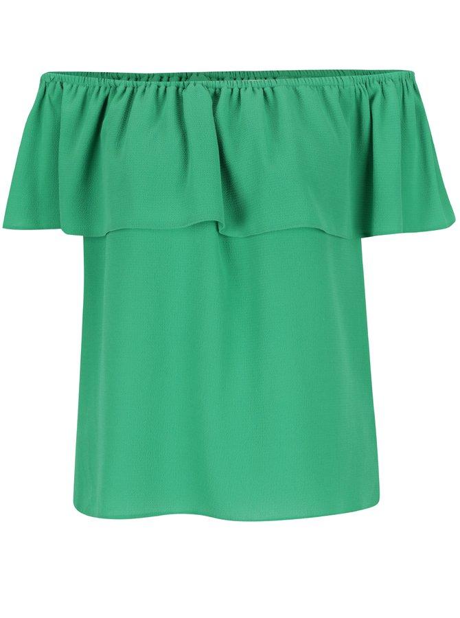 Zelená halenka s odhalenými rameny Dorothy Perkins