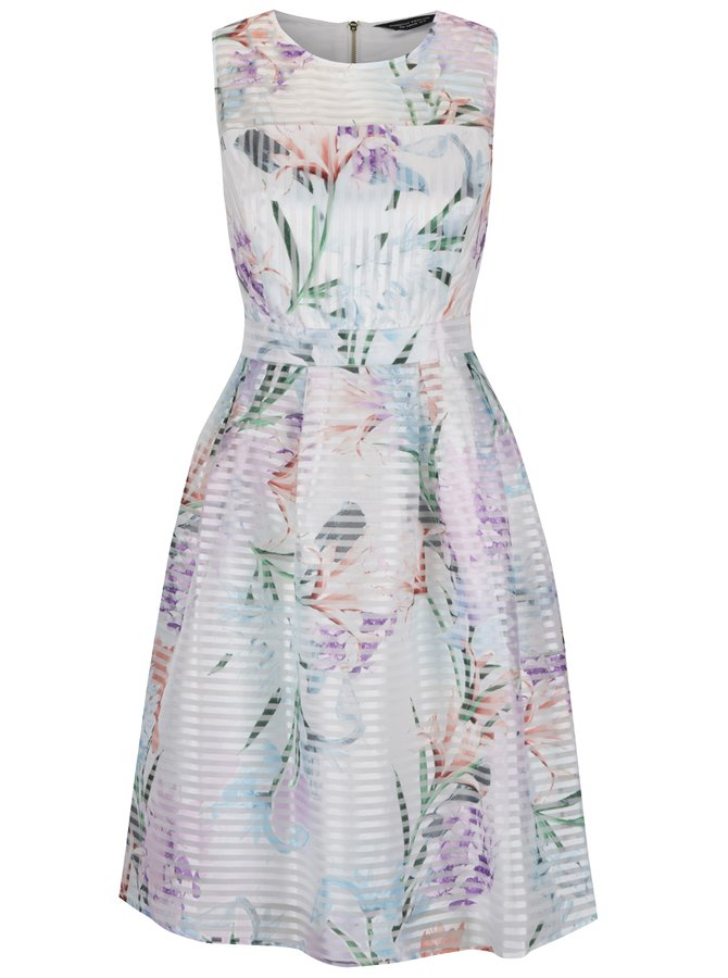 Krémové květované šaty bez rukávů Dorothy Perkins