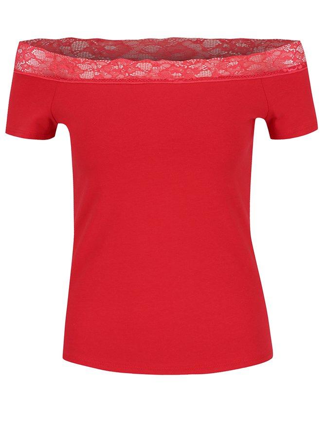 Červené tričko s odhalenými rameny Dorothy Perkins Petite