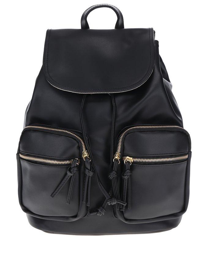 Černý dámský batoh s detaily ve zlaté barvě ZOOT