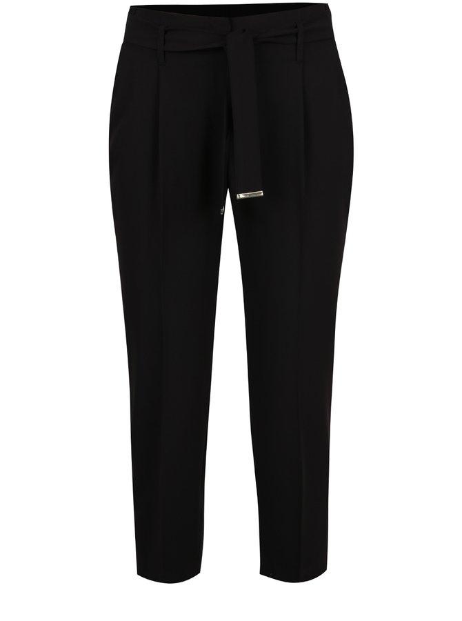 Černé kalhoty s textilním páskem Dorothy Perkins Petite