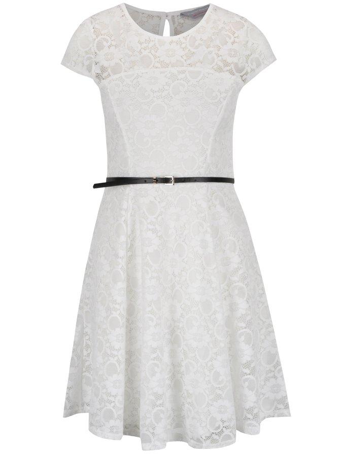 Krémové krajkové šaty s páskem Dorothy Perkins Petite