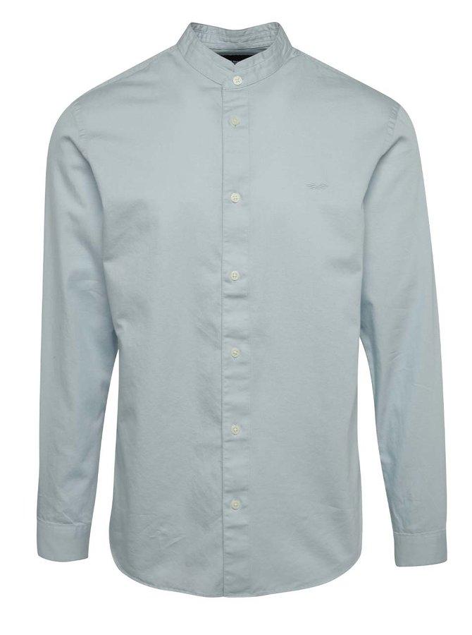 Cămașă albastru deschis Selected Homme One Mao slim fit din bumbac cu guler tunică