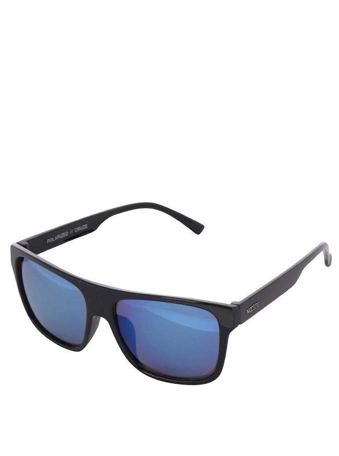 Černé pánské sluneční brýle s modrými skly Nectar Highbro