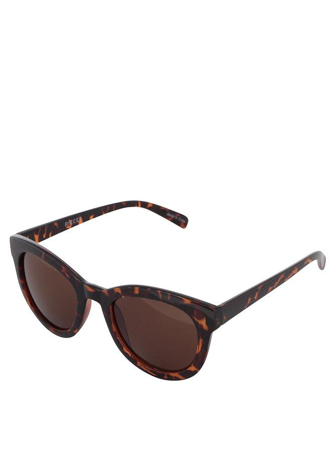 Černo-hnědé vzorované sluneční brýle Pieces Kalinda