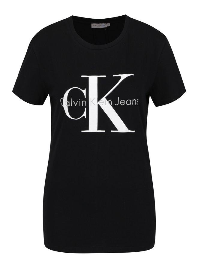 Černé dámské tričko s potiskem Calvin Klein Jeans Shrunken