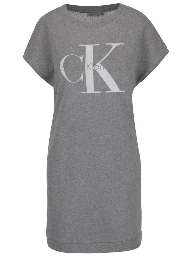 Šedé mikinové šaty s potiskem Calvin Klein Jeans True Icon