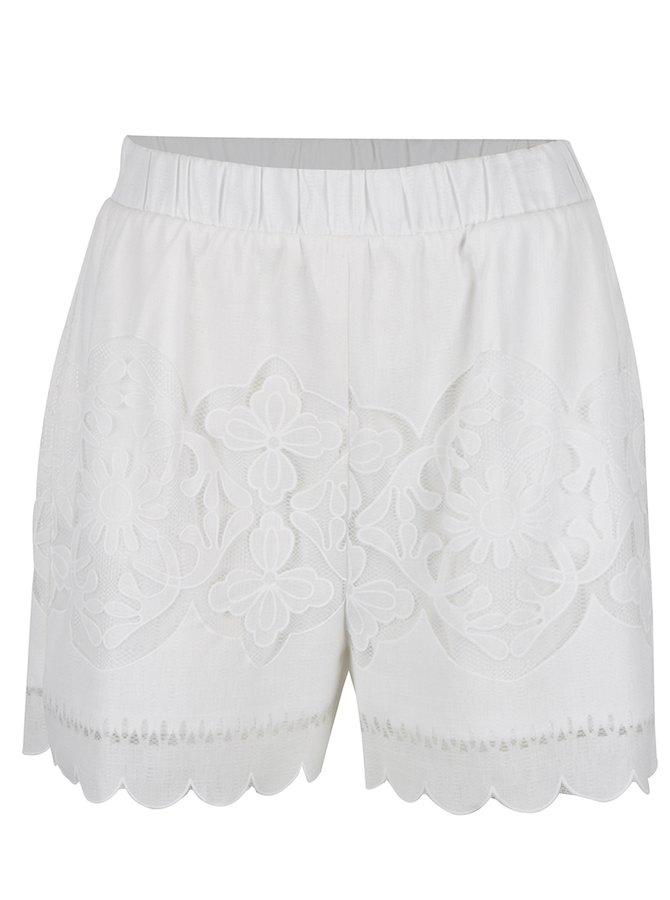 Pantaloni scurți alb fildeș VILA Bellina cu inserție din dantelă