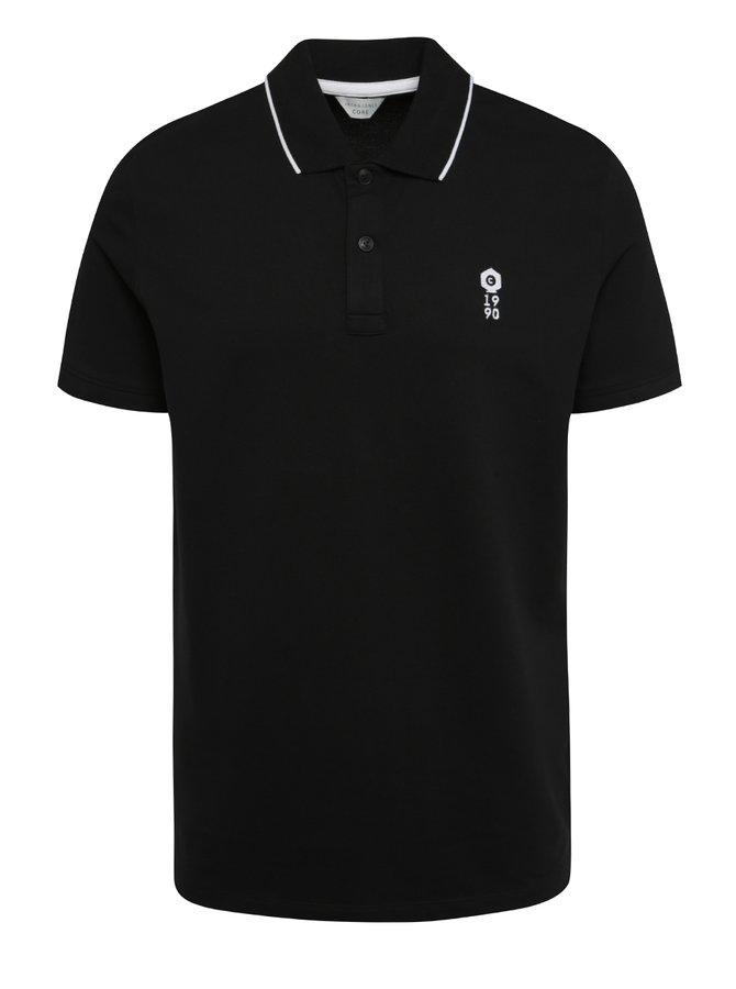 Tricou polo negru Jack & Jones Stone cu șlițuri laterale