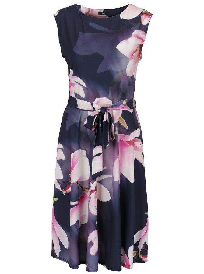 Rochie roz & violet M&Co cu model floral și cordon