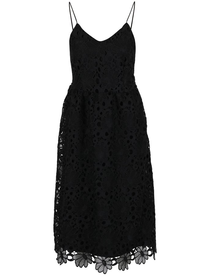 Černé krajkové šaty na tenká ramínka VILA Dalton