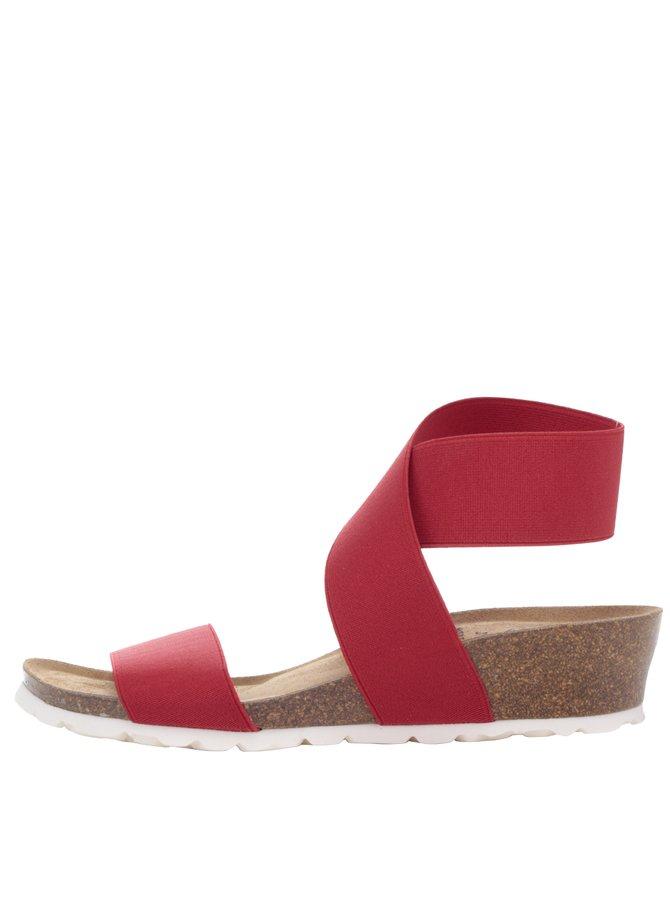 Červené dámské sandály s pružnými pásky OJJU