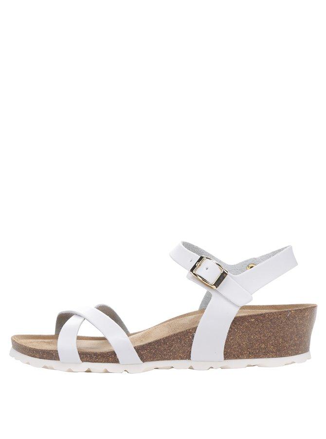 Bílé dámské sandály na klínku OJJU