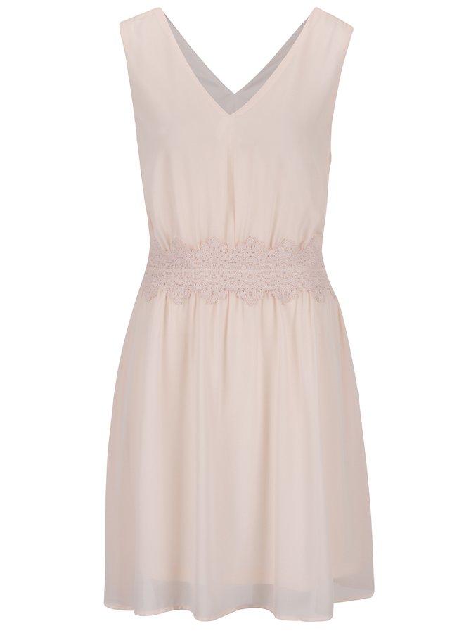 Světle růžové šaty s krajkou v pase VILA Milina