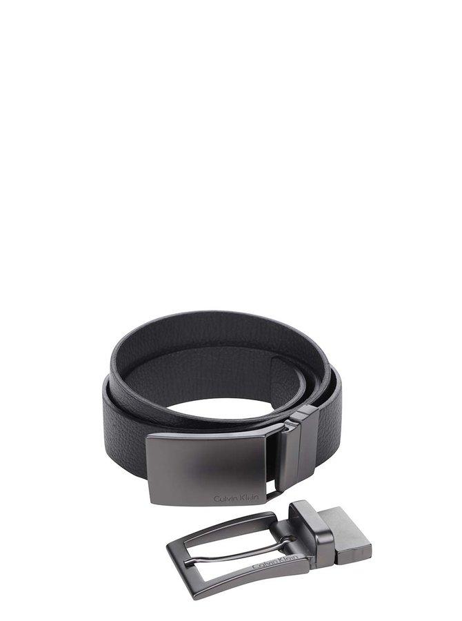 Černý pánský kožený pásek s vyměnitelnou přezkou Calvin Klein Jeans Norman
