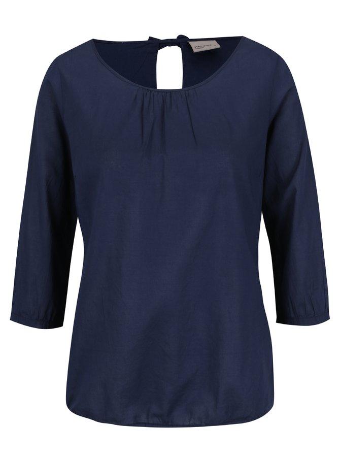 Bluză bleumarin cu buline VERO MODA Petra cu mâneci 3/4