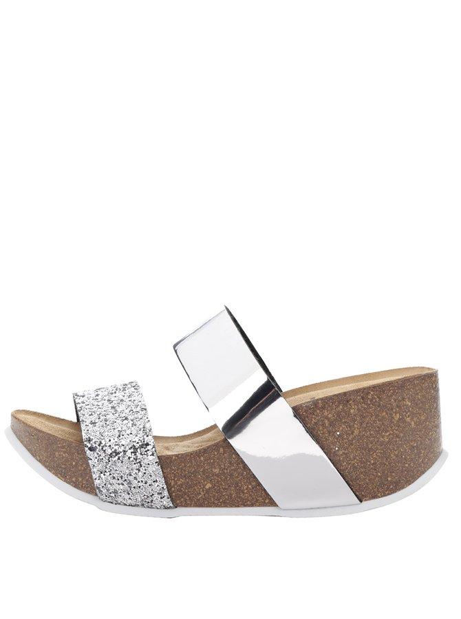 Papuci argintii OJJU cu platformă