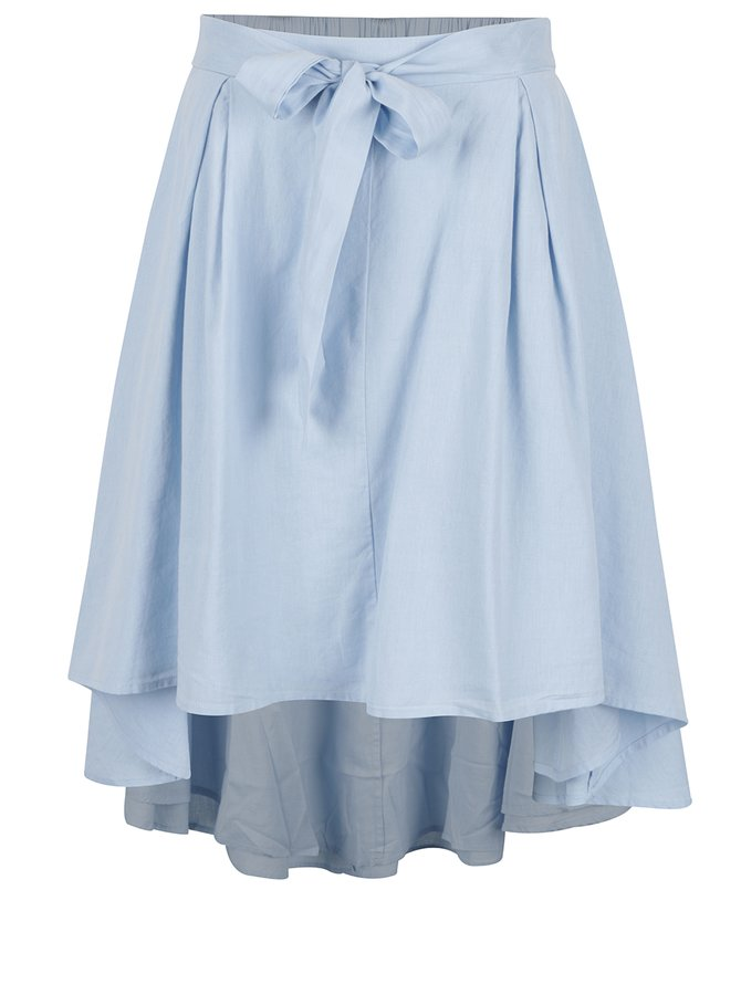 Světle modrá sukně s příměsí lnu VILA Marta