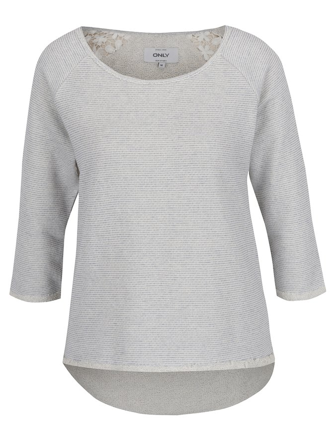 Bluză gri deschis ONLY Hanna cu inserție din dantelă